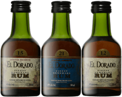 El Dorado Super Premium Rum Collection 12, 15, 21 Year Old 3 x 50mL