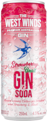 West Winds Gin & Soda Strawberry and Basil Can 250mL